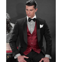 Wholesale Custom Made Black One Button Groom Tuxedos Best Man Shawl Satin Lapel Groomsmen Men Wedding Suits Bridegroom Jacket Pants Tie Vest H808