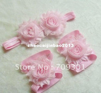 Wholesale 36sets quot Shabby Flower sandals Barefoot Sandals shabby flower headbands Colors in sotck