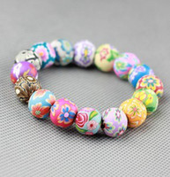 Wholesale Handmade Beads Elastic Bracelets MM Bohemian Polymer Clay Beaded Bracelet Wristbands for Women Gift Fashion Jewelry Gift Free Shipp