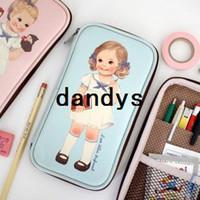 Cheap Korea style Stationery paper doll design pen bag make up bag multipen pouch 3 color 6Pcs Lot