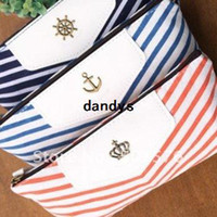 Wholesale New cute navy stripe style fabric Pencil bag pen amp Cosmetic pouch