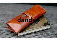 Wholesale Wholesa PU Leather Tether Pencil Case pencil Bag pen Pocket Cosmetic Bag coin bag Pouch Cosmetic Cases super Gift