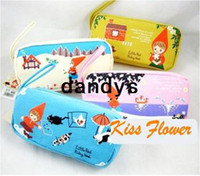 Wholesale Lovely kawaii little red girl big fabric pencil bag pencil pouch pen bag cotton bag FreeShipping
