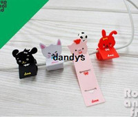 Wholesale Roll up Animal Friend Headphone Cable Winder Moblie Earphone bobbin winder Wholesales style