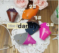 Wholesale Korea style Color PU leather cable management Earphone bobbin winder Book mark FreeShipping