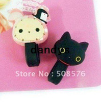 Wholesale 2 Color Cute Bear cable winder Moblie Earphone bobbin winder cable management