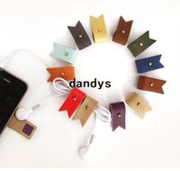 Wholesale PU leather humming roll up Moblie Earphone bobbin winder cable management