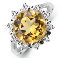 Bohemian Natural crystal / semi-precious stones Citrine Monopoly genuine 925 sterling silver natural citrine ring fashion wild European and American style
