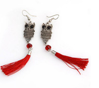 Wholesale Fashion Hot Sale Owl Shape Earrings Alloys Copper Cloth Crystal Tassel Earrings Nice Jewelry C0599