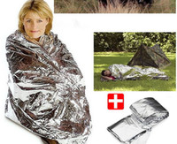 Wholesale 2 Side Silver Emergency Rescue Blanket silvery silver mylar waterproof emergency rescue space foil thermal blankets cm x cm pc