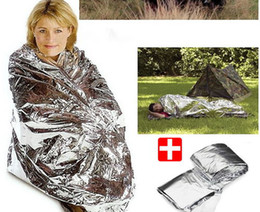 2-Side Silver Emergency Rescue Blanket silvery silver mylar waterproof emergency rescue space foil thermal blankets 130cm x 210cm 30pc lot