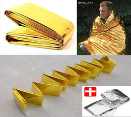 Gold - Silver Emergency Rescue Blanket silvery silver mylar waterproof emergency rescue space foil thermal blankets 140cm x 210cm 30pc lot