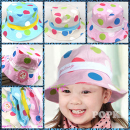 Wholesale 2014 new arrival children hat colored dots cute cloth bucket hats girls hat