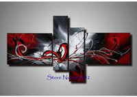 One Panel Oil Painting Abstract 100% hand painted 4 panels wall art canvas abstract painting red white black color home decor High quality
