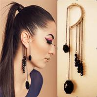 South American beaded tassel earrings - Retro punk Ear Hook Ear Cuff Earrings Exaggerated Black Beaded Tassel Ear Hook
