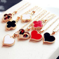 Wholesale 129 promotion multicolor lucky clover heart shaped pendant necklaces fashion lovely women lady girl jewelry