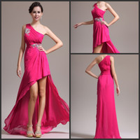 Wholesale Fushia Sexy Short Front Long Back Crystals Beading Chiffon Graduation For Girls Party Dress Prom Gown