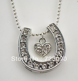 Free Shipping crystal horse shoe with heart pendant neckalce jewelry