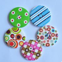 al por mayor costura de botones de dibujos animados-Libre shp!200pcs mucho Vintage 40mm ronda de azar Multicolor Patrón natural de los Botones de madera,Bastante a los Niños de dibujos animados de BRICOLAJE, costura/scrapbook/Cardmaking