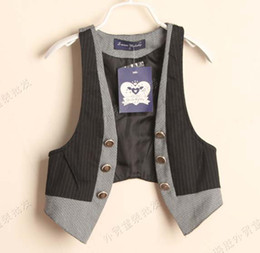 Wholesale Children Outwear Boys Vest Children Waistcoat Fashion Sleeveless Tops Coats Kids Stripe Casual Vests Child Clothing Gentleman Waistcoats