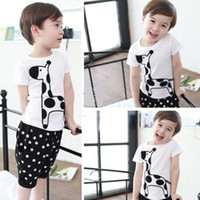 2-8Y Boy Summer 2013 Summer Boy's 2pcs Suits = Tshirt+Pants 5 Sizes 1 colors 2-8Y Giraffe Leisure Outfits & Sets Outwear Boys Clothes Tank Tops Shirts