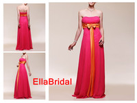 Real Photos Sash Sleeveless Sheath Fuchsia Chiffon with Orange Bow Belt Sash Floor Length Ruched Strapless Bridesmaid Dresses Formal Evening Party Dress Gown 00175928
