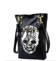 Wholesale class fashion lady s handbag black punk skull shoulder bag