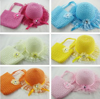 Wholesale 2013 hot sale Baby Girls Flower Straw Beach Hat Bag kids sun hat beach bags children Summer cute candy color topee