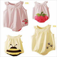 Cheap 2013 Summer baby jumpsuits pure cotton embroidery cartoon pattern girls and boys infant rompers children clothes 2colour 3size 12pcs lot