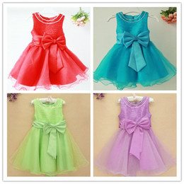 Wholesale Girls Party Dress Girls Pearl Necklace O Neck Pleated Ball Dress Best Gift for Girls High Quality BD
