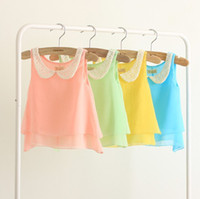 Wholesale 2013 Children s T shirts Girl s Tee Candy colored Chiffon Short sleeve Children s Clothing