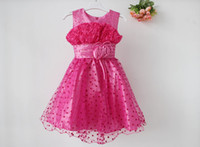 3-8 years Summer Sleeveless 13053003-BB Girl Party Dress Vest Flowers Beads Dress Heats Pattern Free Shipping