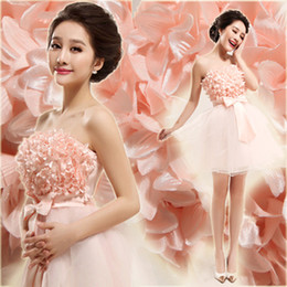 Hot now free ship with track number pink flower Bridal gown wedding dress evening dress 616