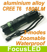 Wholesale Hot Ultra Bright Ultrafire LM CREE T6 Mode LED Flashlight Torch Waterproof aluminium alloy Zoomable Strobe IN Stock Now