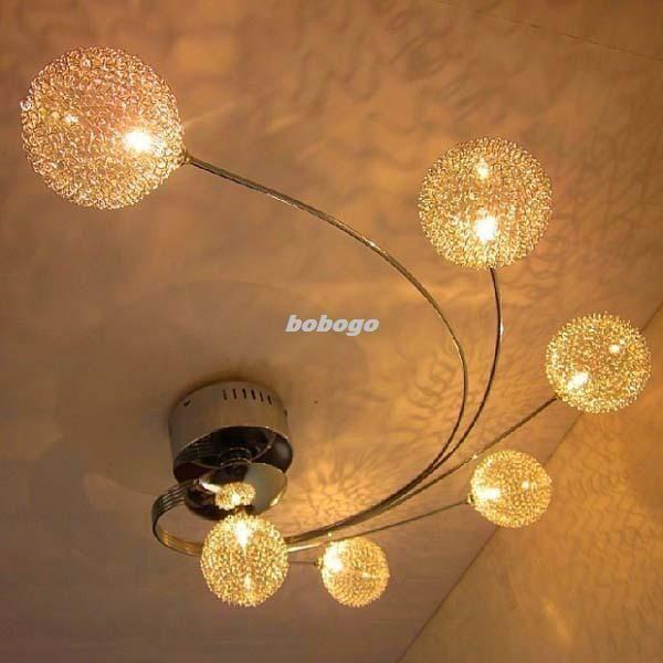 Modern 6 Lights Glass Shade Aluminum Wire Ceiling Lighting Light Lamp  Fixture D9