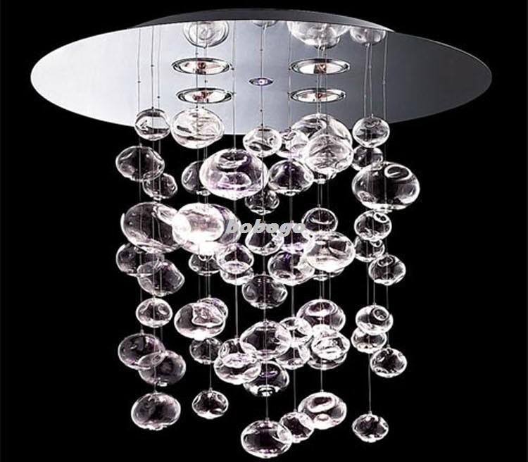 60cm murano due bubble glass chandelier suspension light for Luminaire noir suspension