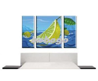 Cheap Stylish Lime Wall Art Canvas Print Set Modern Painting