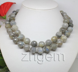 """34""""long natural Labradorite necklace faceted beads 12mm"""