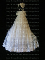 Wholesale Stunning Christening baby long gown ivory White lace with hat Custom made size New arrived