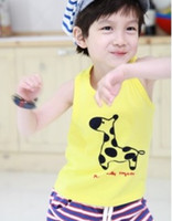 2y,3y,4y,5y,6y 90 100 110 120 130 unisex Cute boys clothes boys singlets giraffe tank tops children's t-shirts cotton gilets tees shirts kids tshirts outfits jumpers blouses Z12