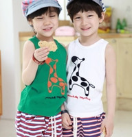 2y,3y,4y,5y,6y 90 100 110 120 130 unisex Cute boys singlets boys clothes giraffe tank tops children's clothing cotton gilets tees shirts kids tshirts outfits jumpers blouses Z13