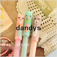 Wholesale New creative cartoon pets rubber erasable gel Pen Promotional pen FreeShipping