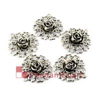 Wholesale 12PCS Top Fashion DIY Jewellery Necklace Scarf Findings Hollow Out Mental Zinc Alloy Flower Pendant Charm AC0156