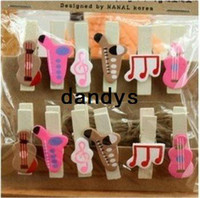 wholesale music gifts - mini music wooden clip Clip set Message folders Fashion Style creative Gift