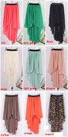 Wholesale HOT New high quality Asym Hem Chiffon Ladies Skirt Long Maxi Skirt Womens Sexy Asymmetric Skirts colors Elastic Waist
