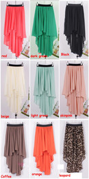 Wholesale 2013 HOT New high quality Asym Hem Chiffon Ladies Skirt Long Maxi Skirt Womens Sexy Asymmetric Skirts colors Elastic Waist