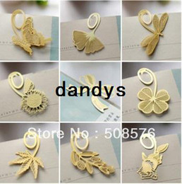 Wholesale 18K gold Creative flowers and animal series book line marker Paperclip Bookmarks designs