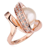 Wholesale new Sell like hot cakes K gold Global fashion crystal ring rose gold diamond pearl ring R077