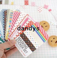 fabric korea - Korea style Set Fabric amp Basic amp Pastel design DIY Ribbon tape stickers album Diary decoration sticker Freeshipping