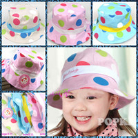 Boy Summer Fedora 50pcs* Low Price 2013 new arrival children hat colored dots cute cloth bucket hats girls hat 3 colors